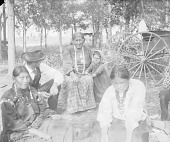 view Old Woman, Child, and Man Watching Two Women Play Gambling Game; Wagon Nearby 1907 digital asset number 1