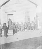 view [Winnebagos at agency office door, Winnebago Reservation] ca. 1887-1889 digital asset number 1