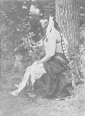 view [Profile of Carey (or Caryl) La Flesche, brother of Francis La Flesche, seated outdoors] Fall, 1902 digital asset number 1