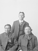 view [Portrait of (left to right) Wajepa, also known as Ezra Freemont, Carey La Flesche (standing), and Shongaeska, also known as Ellis Blackbird] digital asset number 1