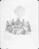 """view [""""Their manner of praying with their rattles about the fire""""] digital asset number 1"""
