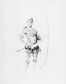 view Engraving After Watercolor by John White of Chief in Native Dress with Tattoos? and Ornaments and Holding Bow and Arrow, And Carrying Quiver n.d digital asset number 1
