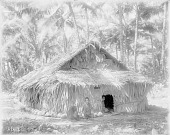 view [Two children sitting in front of house, Moen Island, Truk Islands] 1899-1900 digital asset number 1