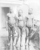 view [Three men standing on board of ship, Truk Lagoon] 1899-1900 digital asset number 1