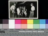 view [Alexander Daveron and unidentified man with carcass of maned wolf on horse], circa 1938 digital asset number 1
