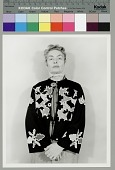 view [Ruth Landes wearing Potawatomi beaded jacket], undated digital asset number 1