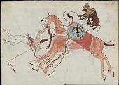 view Four Horns copy of Sitting Bull drawing of himself with shield in battle with Crow Indians digital asset: Four Horns copy of Sitting Bull drawing of himself with shield in battle with Crow Indians