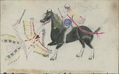 view Sitting Bull drawing of him in battle with Crow Indians digital asset: Sitting Bull drawing of him in battle with Crow Indians