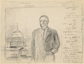 view Preparatory study for portrait of Lyndon B. Johnson, with artist's notes in Spanish digital asset number 1