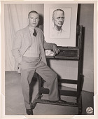 view Tom Lea with his portrait of General Wainwright, 1945 digital asset number 1