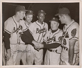 view Hank Aaron, Delbert Rice, Andrew Pafko, Fred Haney and Joseph Adcock digital asset number 1