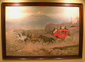 view Western Mail Coach in Sight of Mt. Hood painting digital asset number 1