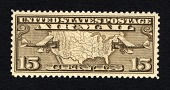 view 15c United States map and airmail biplanes single digital asset number 1