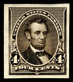 view 4c Lincoln plate proof single digital asset number 1