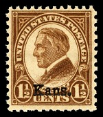 view 1½c Warren G. Harding with Kans. overprint single digital asset number 1