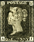 view 1p Queen Victoria Penny Black single digital asset number 1