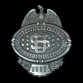 view RMS clerk chest badge, number 6692 digital asset number 1