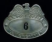 view City letter carrier cap badge, number 6 digital asset number 1