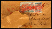 view 13c Hawaiian Missionary strip of three on cover digital asset number 1