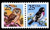 view 25c Owl and Grosbeak horizontal pair digital asset number 1