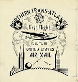 view Cachet art sketch for Foreign Airmail Route 18 digital asset number 1