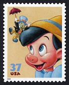 view 37c Jiminy Cricket and Pinocchio single digital asset number 1