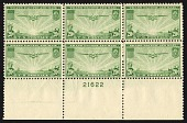 view 20c Transpacific China Clipper bottom plate block of six digital asset number 1