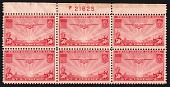 view 50c Transpacific China Clipper top plate block of six digital asset number 1