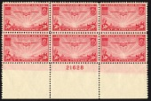 view 50c Transpacific China Clipper bottom plate block of six digital asset number 1