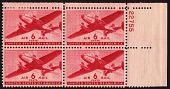 view 6c Twin-motored transport plane plate block of four digital asset number 1