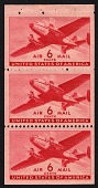 view 6c Twin-motored transport plane booklet pane of three digital asset number 1