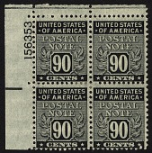 view 90c Postal Note plate block of four digital asset number 1