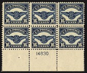 view 16c Air Service Emblem bottom plate block of six digital asset number 1