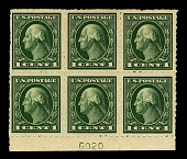 view 1c Washington Kansas City Roulette bottom plate block of six digital asset number 1
