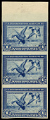 view $1 Mallards Alighting imperforate strip of 3 error digital asset number 1