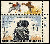 view $3 Lab Retriever Carrying Mallard Drake revenue stamp remarque single digital asset number 1