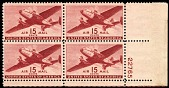 view 15c Twin-motored transport plane plate block of four digital asset number 1