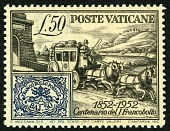 view 50 lire Roman States Stamp and Stage Coach single digital asset number 1