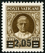 view 2.50 lire on 2 lire Pope Pius XI single digital asset number 1