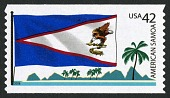 view 42c American Samoa Flag, Island Peaks and Trees coil single digital asset number 1