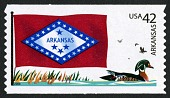 view 42c Arkansas Flag and Wood Duck coil single digital asset number 1