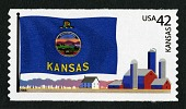 view 42c Kansas Flag and Farm Buildings coil single digital asset number 1