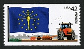 view 42c Indiana Flag and Tractor coil single digital asset number 1