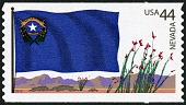 view 44c Nevada Flag, Mountains and Ocotillos single digital asset number 1