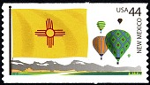 view 44c New Mexico Flag, Mountains and Hot Air Balloons single digital asset number 1