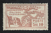 view 10c Map of Castellorizo and Flag of Italy single digital asset number 1