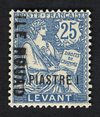 view 1pi surcharge and overprint on 25c stamp of French Offices in the Levant single digital asset number 1