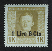 view 1L6c surcharge on 1k military stamp of Austria single digital asset number 1