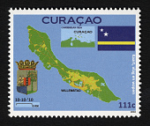 view 111c Map of Curacao and West Indies, Arms and Flag single digital asset number 1