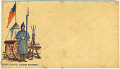 view Union patriotic cover with soldier and cannon cachet digital asset number 1